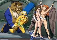 #pic143706: Beast – Beauty and the Beast – Belle – DC – Hawkgirl – Justice League – Marge Simpson – PalComix – The Simpsons – crossover