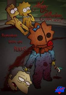 #pic368577: Bart Simpson – Halloween – Lisa Simpson – Maggie Simpson – Moe Szyslak – Sam – The Simpsons – Trick 'r Treat – WDJ – cosplay – featured image