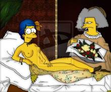 #pic354790: Manet – Marge Simpson – Olympia – Selma Bouvier – The Simpsons – art