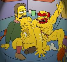#pic1126104: Groundskeeper Willie – Homer Simpson – Ned Flanders – The Simpsons
