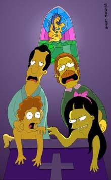 #pic90557: Jessica Lovejoy – Ned Flanders – Rod Flanders – The Simpsons – Timothy Lovejoy – great moaning