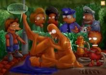 #pic135408: Apu Nahasapeemapetilon – Chief Wiggum – Edna Krabappel – Homer Simpson – Lisa Simpson – Marge Simpson – Nelson Muntz – Orange Box – The Simpsons – captain mccallister