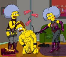 #pic680551: Drawn-Hentai – Ned Flanders – Patty Bouvier – Selma Bouvier – The Simpsons