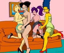 #pic1040390: Amy Wong – Claudia-R – Family Guy – Futurama – Lois Griffin – Marge Simpson – The Simpsons – Turanga Leela – crossover