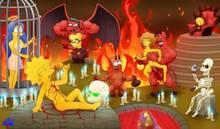 #pic959880: Bart Simpson – Homer Simpson – Lisa Simpson – Maggie Simpson – Marge Simpson – Maude Flanders – Milhouse Van Houten – Moe Szyslak – Montgomery Burns – Ned Flanders – Satan – The Simpsons – WDJ