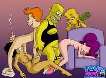 #pic949333: Amy Wong – Bart Simpson – Fry – Futurama – Homer Simpson – The Simpsons – Toon-Party – Turanga Leela
