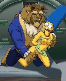 #pic446343: Beast – Beauty and the Beast – Black Hole Sun – Marge Simpson – The Simpsons – crossover