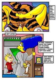 #pic557642: Calvin – Calvin and Hobbes – Hobbes – Lisa Simpson – Marge Simpson – The Simpsons – crossover