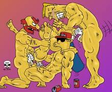 #pic244888: Duffman – Groundskeeper Willie – Marge Simpson – Rainier Wolfcastle – The Fear – The Simpsons